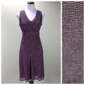 NWT Ann Taylor Purple & Cream V-Neck Midi Dress
